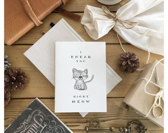 M E O W // cat pun card, cat pun, cat lover card, right meow, i need you, love card, Valentine's Day card, love pun, love pun card, cat card