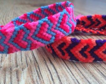 Heart-Friendship bracelet-Handmade-BFF-XOXO-Pattern-Woven-Knotted-Braided-Wrap bracelet-FriendGift-Love-Best friend-Jewelry-Summer gift-Girl