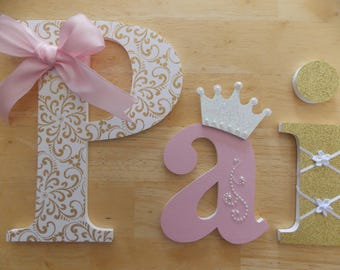 Princess Letters, Pink, White and Gold Letters, Personalized Letters, Girl's Birthday Gift, Baby Shower Gift, Girl's Room, Princess Decor