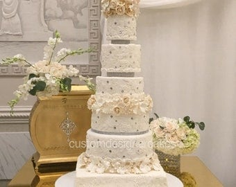 6 Tier Fake Wedding Cake Covered with REAL Fondant  Wedding Cake Dummy Display Wedding Cake With Sugar Flowers