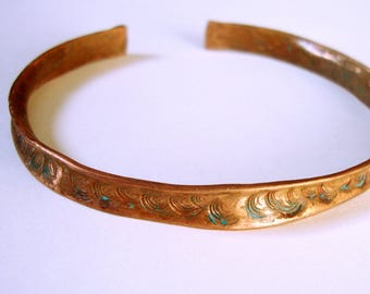 Simple rustic copper bangle