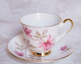 Tea Cup and Saucer, Bone China, Pink flowers