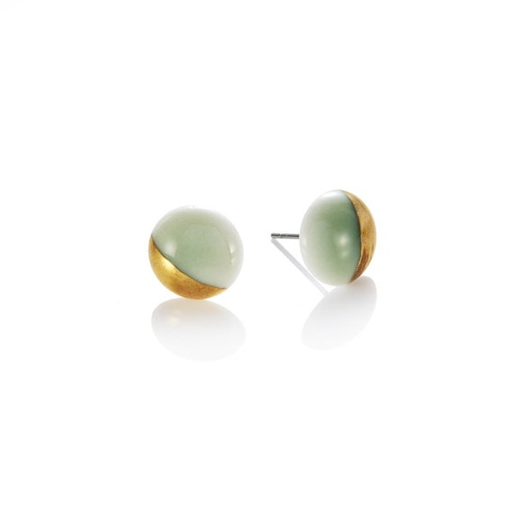 green Studs porcelain with 22k Gold dip