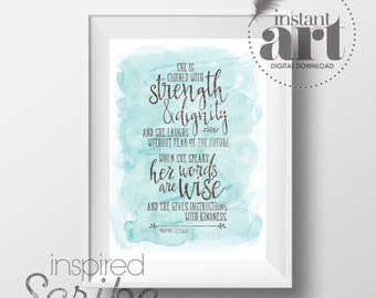 Proverbs 31 She is clothed with strength and dignity and she laughs without fear of the future digital typography gift print