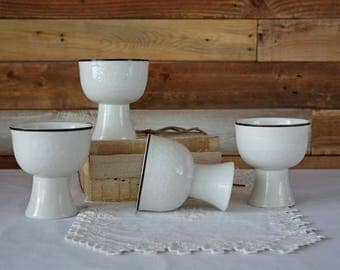 Royal Doulton Lambeth Stoneware - White cream with brown trim - Goblets - Made in England - Vintage stoneware - Retro glass