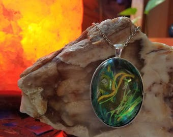 Handmade Embroidery Floss Oval Pendant in a Bottle Green, Yellow, Hunter Green, Neon Green