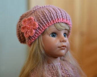 """Knitted Slouchy Beanie for 18"""" Doll"""