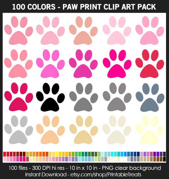 100 Colors Paw Print Clipart Pack Commercial Use Pet
