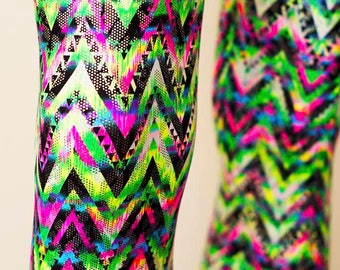Geometric Meggings Holographic Pink and Neon Green Chevron Zigzag Print