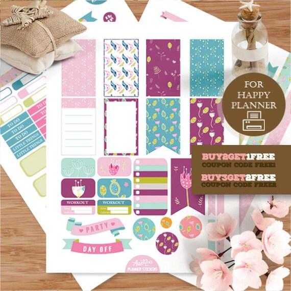 Flower printable planner stickers happy planner stickers for Happy planner accessories