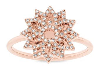 Unique Intricate 0.19ct 14k Rose Gold Diamond Snowflake Lady's Ring