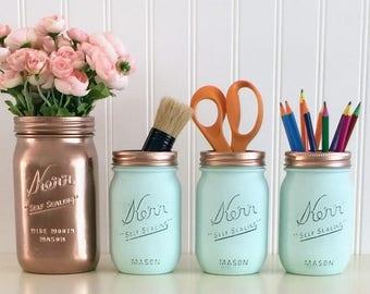 Painted Mason Jars, Rose Gold Mason Jar, Desk Organizer, Pencil Holder, Rose Gold And Aqua Desk Set, Bathroom Decor, Office Accessories