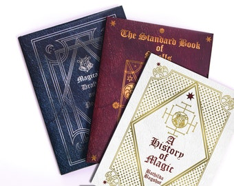 Harry Potter Hogwarts School Books - 'Standard Book of Spells', 'Magical Drafts and Potions' & 'A History of Magic'