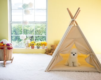 Premium Quality Pets Modern Style Indian Teepee with White Mini Pompom Pattern Edge Trim