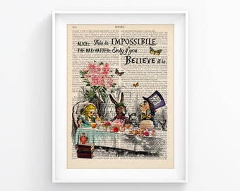 Wall Print Vintage Illustration Alice In Wonderland Decorative Art Book Page Upcycled Page decor, Retro Print, Poster Vintage Book print 111