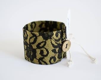 Fabric bracelet Black lace bracelet Mustard yellow cuff bracelet Yellow bracelet Black Boho chic bracelet Romantic accessories Gift for her