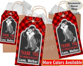 Lumberjack birthday, wolf favor tags, Red Plaid Woodland, Great Wolf Lodge, favor tags, Rustic camping label loot bag candy FTLJ8