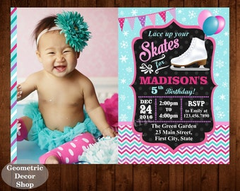 Ice Skating Birthday Invitation Printable Party Ice Skate Invite Digital Girl winter chevron blue pink teal aqua skates Photo Photograph IS5
