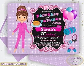 Pancakes and Pajamas Party / Sleepover / Slumber Invite / Spa Birthday Invitation / Pink Teal Purple Glitter Girl Chalkboard BDSO5