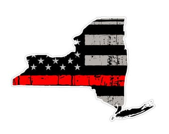 New York State (C33) Thin Red Line Vinyl Decal Sticker Car/Truck Laptop/Netbook Window