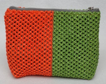Cosmetic bag Makeup bag Fabric bag Womens bag gift for women gift for her green orange cosmetic case Make up bag Make up case Zipper pouch