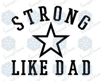 """Set of 2 - SVG & DXF design - Boys' sporty """"Strong like Mom"""" and """"Strong like Dad"""" t-shirt cut files (Cricut and Silhouette)"""