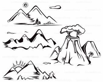 Mountain Scenery Svgmountains Clipartmountains Silhouettecricutcut