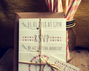 Rustic Wedding Invitations Photo Set - Wedding Invites - Vintage