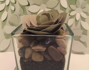Handmade Paper Succulent in Glass Pot Home Decor