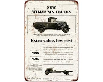1931 New Willys Six Trucks Vintage Look Reproduction 8x12 Metal Sign 8120578