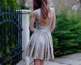 Elegant Dress / Cut Out Back Dress / Womens Dresses / Pleated Dress / Midi Dress / Beige Dress / Party Dress / Prom Dress