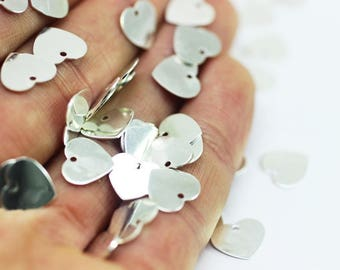 25 Pcs Silver plated Heart Tags, 9x10 mm, Silver plated Heart Charm, Mini Heart Tags, Heart Coins - Heart Disc, Heart Stamp