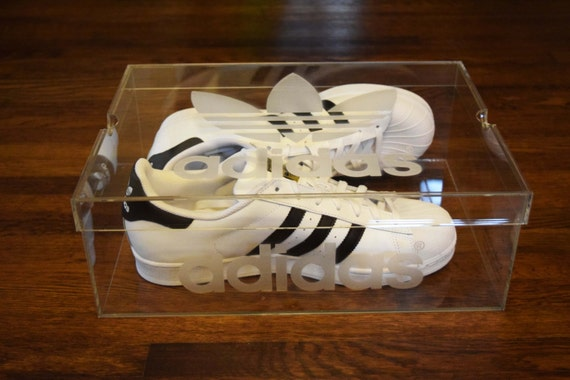 cheap for discount 39aff d13f5 Adidas Clear Acrylic Shoe Box by SuperMetals on Etsy free shipping