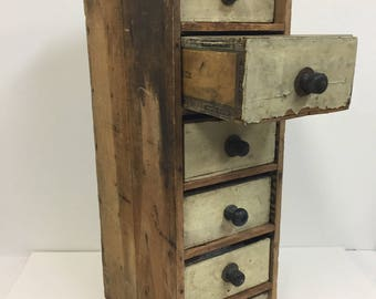 Rare Antique Cigar Box Storage Tower/ Vintage Cigar Box Storage/ Vintage Cigar Box Drawers/ Folk Art Cigar Box Drawers Drawers/Antique Decor