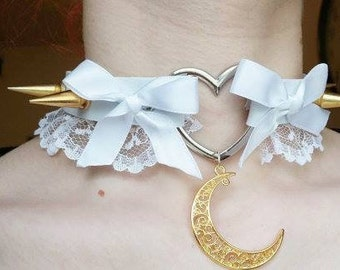 White faux leather heart ring big gold spikes and moon collar