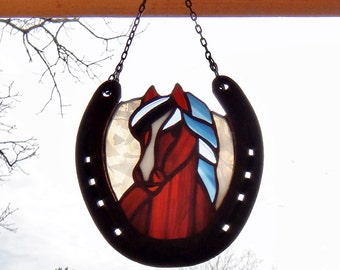 stained glass reddish brown horse with flowing black and white mane suncatcher horse sun catcher recycled horseshoe frame
