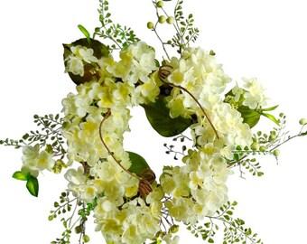 "22"" Cream Hydrangea Wreath"