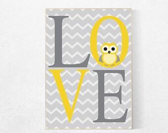 Yellow gray nursery, Love print, owl nursery decor, playroom decor, nursery decor, nursery wall art, owl nursery art, gender neutral baby