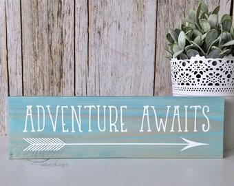 Adventure Awaits  - Adventure Awaits Sign - Graduation Gift - Nursery Sign - Lets Be Adventurers - Wood Signs - Gallery Wall Art