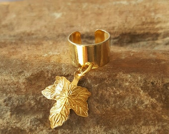 Gold plated leaf ear cuff