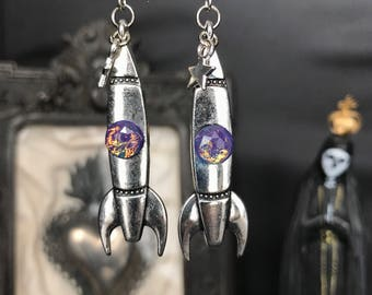 Rocket science fiction robot iridescent cosmic space rocket earrings