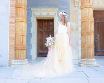 Gorgeous Tulle Wedding Skirt - Full & Long Train - Spring Wedding, Beach Wedding, Engagement Photos
