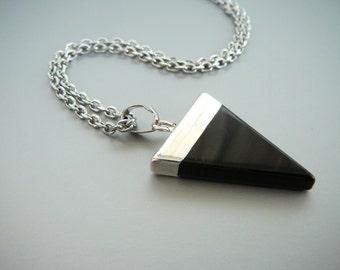 Black Onyx Necklace black agate pendant Long necklace Black Triangle pendant for women Black Necklace for girl necklace Black onyx jewelry