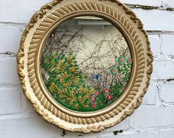 Round mirror alabaster mirror patterned mirror butterfly garden mirror