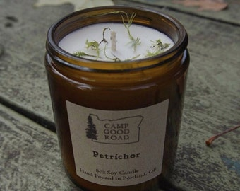 8oz PETRICHOR \ Scented Soy Candle \ Amber Glass Candle \ Container Candle