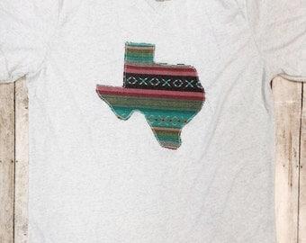 Serape Texas shirt - Sweet Texas Treasures - aztec falsa fiesta themed texan tee, serape monochrome texas tee, texas girl, Texan tee