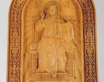 Wooden carved icon, Jesus carved icon, wooden Jesus Christ, Our Lord Jesus, Lord carved icon, hand carved icon