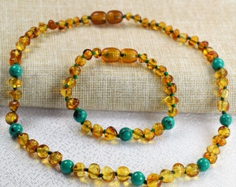 Amber necklace, Amber bracelet, Baltic Amber, Baby Teething Necklace  & Bracelet,  Set, Baby Amber necklace. Baby amber bracelet