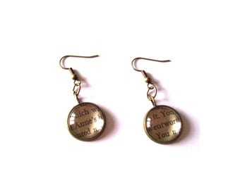 SALE: Persuasion Jane Austen, Book Extract Earrings, Gift for Her, Mother's Day, Literary Earrings, Women's Ladies Jewellery, Gift Boxed