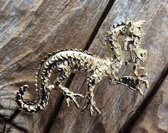Vintage Dragon Brooch Gold Toned Asian Pin Mystical Jewelry Fantasy Art